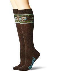Wrangler Ladies Angora Aztec Boot Socks 2 Pair Pack - Brown