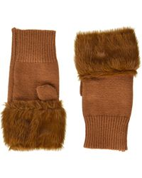 Steve Madden Faux Fur Hand Warmer With Solid - Brown