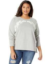 Lucky Brand Plus Size Floral Chenille Sweatshirt - Gray