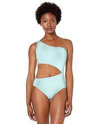 BCBGMAXAZRIA Shoulder Cutout One Piece Solid Color Swimsuit - Blue