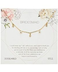 """Dogeared - Bridesmaid Flower Card Danggling Pearl Chain Neckalce, 16"""" + 2"""" Extension - Lyst"""