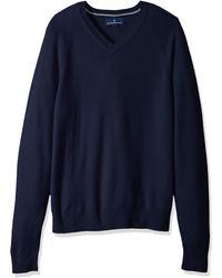 Buttoned Down Cashmere V-neck - Blue