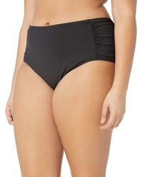 Kenneth Cole Reaction Plus-size Over The Rainbow Solid Shirred Side Swimsuit Bikini Bottom - Black