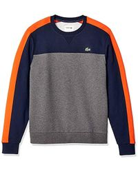 Lacoste Sport Long Sleeve Color Blocked Fleece Crewneck - Blue