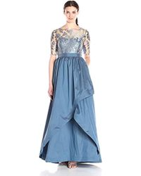 Adrianna Papell - Embroidered Lace Bodice Gown With Taffeta Skirt - Lyst