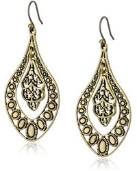 Lucky Brand Gold Filigree Oblong Earrings - Metallic