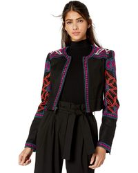 BCBGMAXAZRIA Embroidered Cropped Jacket - Black