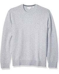 Lacoste Long Sleeve Pinstriped Cotton/cashmere Sweater - Blue