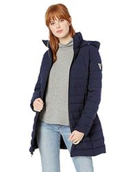 Guess - Knee Length Packable Puffer Coat With Hood And Stand Collar - Lyst