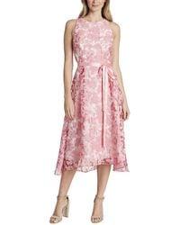 Tahari Sleeveless Lace Overlay Flared Skirt Party Dress - Pink