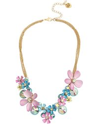 Betsey Johnson Flower Cluster Necklace - Multicolor