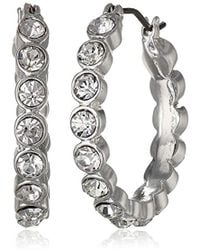 """Napier - """"time To Shine"""" Silver-tone Crystal Stone Hoop Earrings - Lyst"""