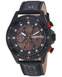 Superdry S Analogue Quartz Watch With Leather Strap Syg228tb - Black