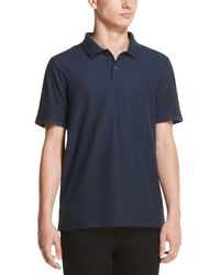 DKNY Solid Pique Cotton Short Sleeve Polo Shirt - Blue