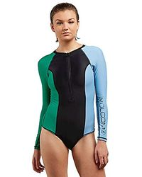 9d9362014f Volcom Simply Solid Bodysuit Swimsuit in Blue - Lyst