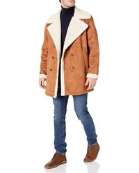 Sean John Double Breasted Faux Shearling Peacoat - Brown