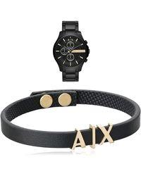 Armani Exchange Rmni Exchnge X Stinless Steel Qurtz Dress Wtch With Rmni Exchnge Lether Brcelet - Black