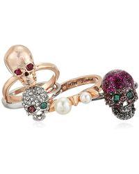 Betsey Johnson - Multi-tone Skull Stackable Ring Set, Multi - Lyst