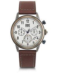 Frye Graham Stainless Steel Japanese Quartz Leather Strap, Brown, 24 Casual Watch (model: 37fr00009-04) - Metallic