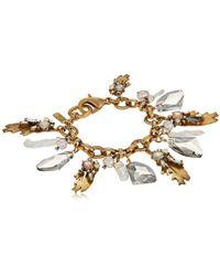 Badgley Mischka - Leaf And Pearl Shaky Charm Bracelet - Lyst
