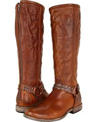 Frye Phillip Studded Harness Tall Boot - Brown