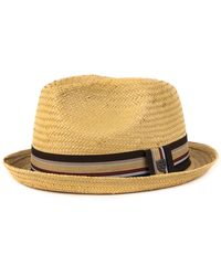 Brixton Castor Straw Fedora Hat - Multicolor