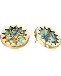 House of Harlow 1960 - Gold-tone Abalone Sunburst Button Stud Earrings - Lyst