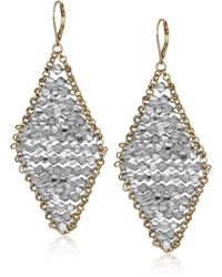 Kenneth Cole Woven Crystal Faceted Bead Kite Drop Earrings - Metallic