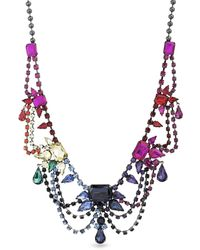 Steve Madden Multistring Rainbow Rhinestone Gunmetal-tone Bib Necklace - Multicolor