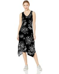 Marc New York Printed Handkerchief Tank Midi Dress - Black