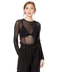Guess Long Sleeve Tatyana Mesh Bodysuit - Black