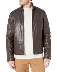 Cole Haan - Zip Front Faux Leather Moto Jacket - Lyst