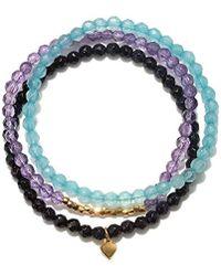 Satya Jewelry - Angelite, Amethyst, Goldstone Gold Heart Stretch Bracelet Set, Multi, One Size - Lyst