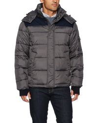 Izod Insulated Puffer Jacket With Removable Hood - Gray