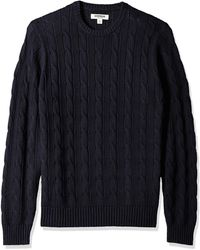 Goodthreads Soft Cotton Cable Stitch Crewneck - Blue