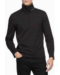 Calvin Klein Logo Long Sleeve Turtleneck - Black