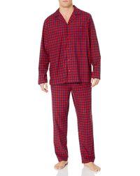 Nautica Cozy Fleece Plaid Pajama Pyjama Set - Rot