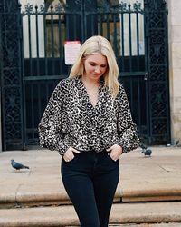 The Drop Leopard Print Wrap-effect Bodysuit By @somewherelately - Multicolor