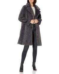 The Drop Kiara Loose-fit Long Faux Fur Coat - Grey