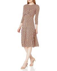 Donna Morgan - 3/4 Sleeve Knot Fron Stretch Knit Jersey Midi Dress - Lyst