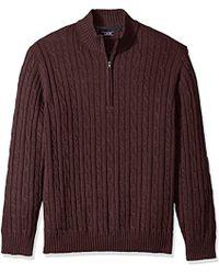 Izod - Premium Essentials Cable Knit 1/4 Zip Sweater - Lyst