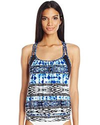 Kenneth Cole Reaction Indigo Go Girl Aztec Layered Tankini With Criss Cross Back Straps - Blue