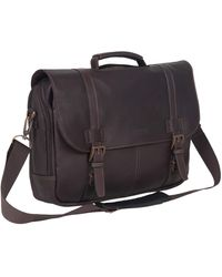 Kenneth Cole Reaction Show Full-grain Colombian Leather Dual Compartment Flapover 15.6-inch Laptop Business Portfolio - Brown