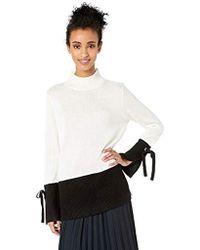 Calvin Klein - Mockneck Colorblock Sweater With Tie - Lyst