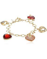 Napier - S Gold Heart Charm Bracelet, Multi-tone - Lyst