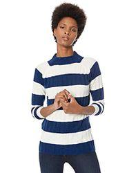 Lark & Ro - Sweaters Mock Neck Striped Cashmere Sweater - Lyst