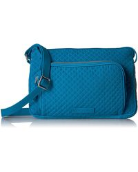 Vera Bradley Microfiber Little Hipster Crossbody Purse With Rfid Protection - Blue