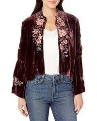 Johnny Was Cropped Velvet Bolero Jacket With Embroidery - Multicolor
