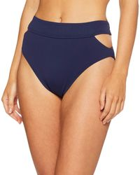 Vince Camuto High Waist Bikini Bottom Swimsuit With Cut Out Detail - Blue