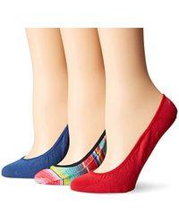 Sperry Top-Sider 3 Pack Printed Micro Liner Socks - Red